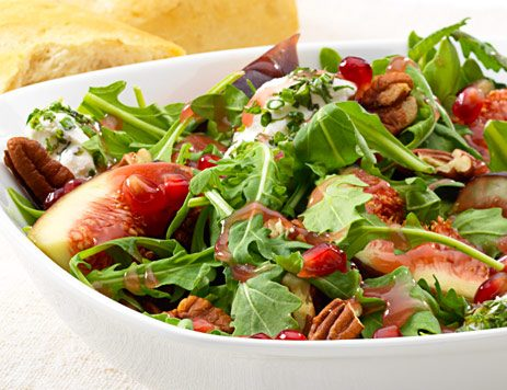 Arugula Pomegranate Salad with Pecans and Figs Recipe