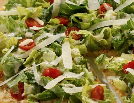 Chopped Caesar Salad on Cheese Pizza Crust