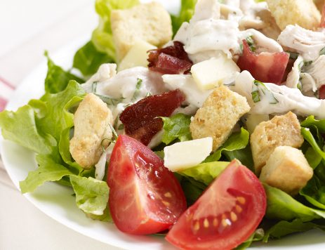 Crunch Mixed Salad With Cheddar Bacon Croutons Recipe