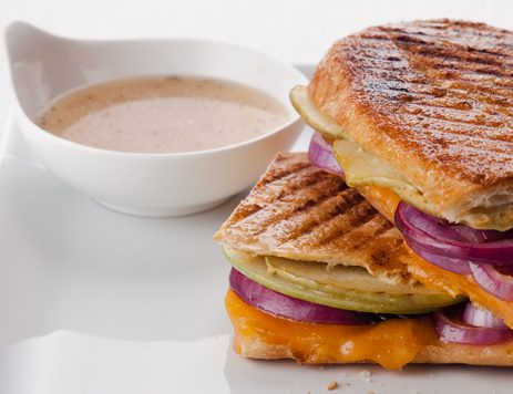 Grilled Apple, Cheddar and Red Onion Panini