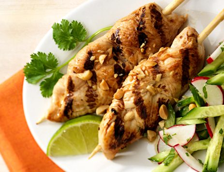 Grilled Chicken Satay with Chopped Cucumber Salad