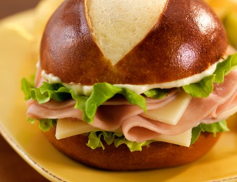 Ham and Swiss Pretzel Sandwiches With Horseradish