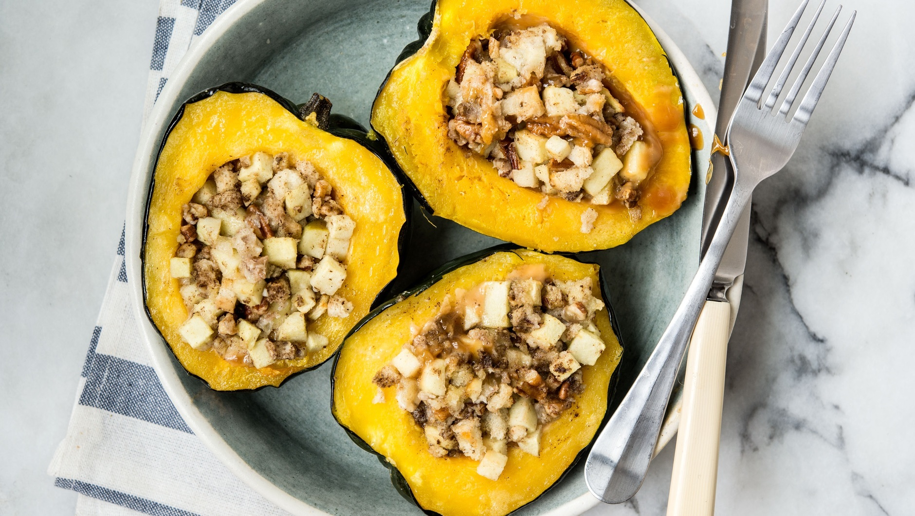 Baked Acorn Squash With Apples & Pecans Recipe - What's ...