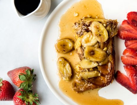 Upside Down Banana Pecan French Toast