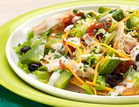 Open Face Chicken Tostada Salad