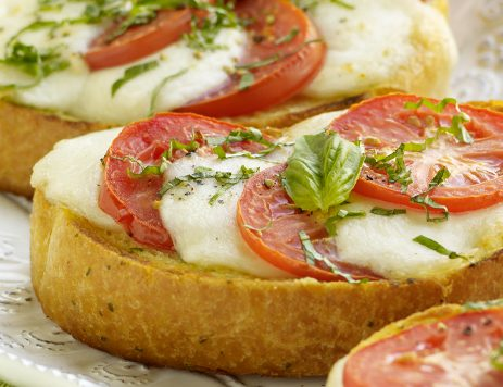 Open Face Fresh Tomato Basil Mozzarella