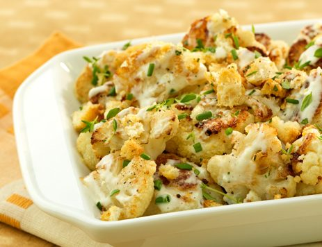 Oven Roasted Cauliflower with Crunchy Topping