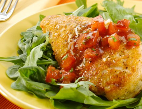 Parmesan Crusted Chicken With Tomato Relish Recipe