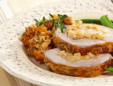 Roasted Apple and Onion Stuffed Pork Loin