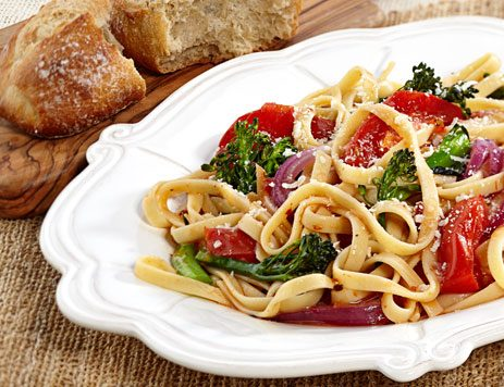 Roasted Broccolini with Fettuccine