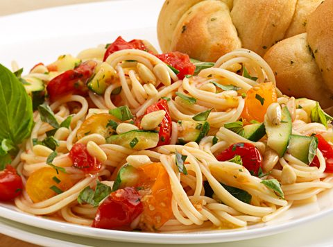 Roasted Cherry Tomatoes with Spaghetti