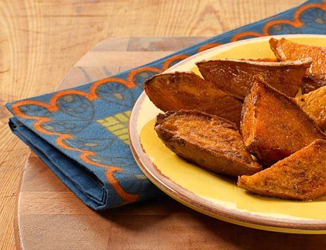 Roasted Sweet Potato Wedges with Cream Caramel Dip