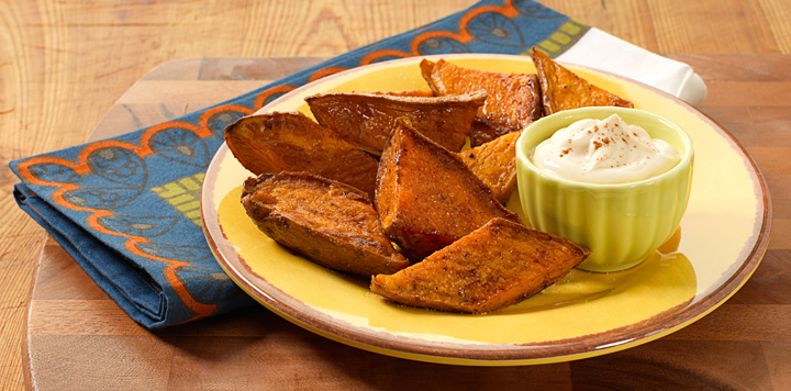 Roasted Sweet Potato Wedges with Cream Caramel Dip | What ...
