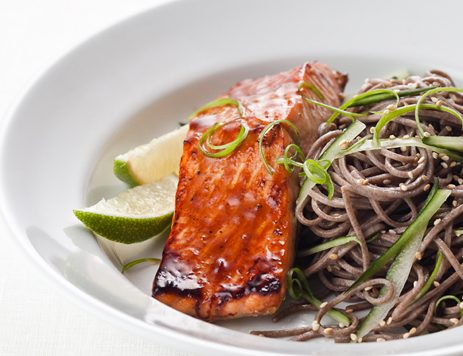 Salmon Teriyaki With Sesame Scallion Soba Noodles