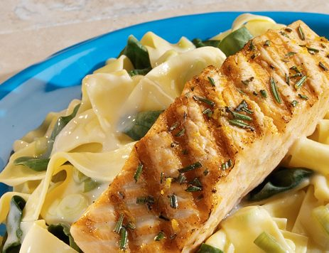 Salmon With Creamy Noodles and Spinach Recipe