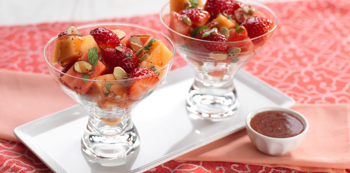 strawberry melon mint crunch salad recipe