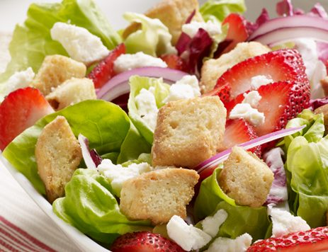 Strawberry Salad With Honey Butter Croutons