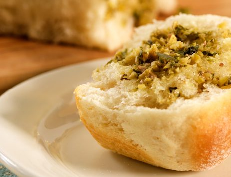 Toasty Pull Apart Bread With Green Olive Tapenade