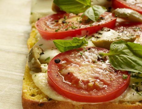 White Pizza With Sliced Tomatoes