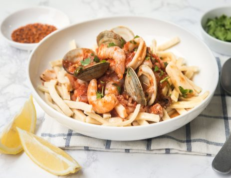 Mixed Seafood Noodles in Tomato Sauce