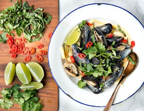 Mussels and Noodles in a Lemongrass-Ginger Broth