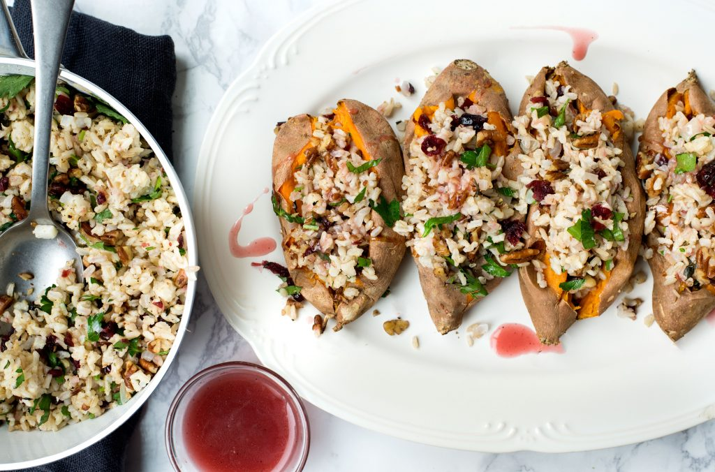 Whole baked sweet potatoes with rice pilaf
