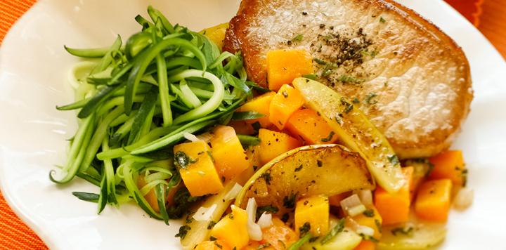 butternut squash and apples with pan seared porkchop