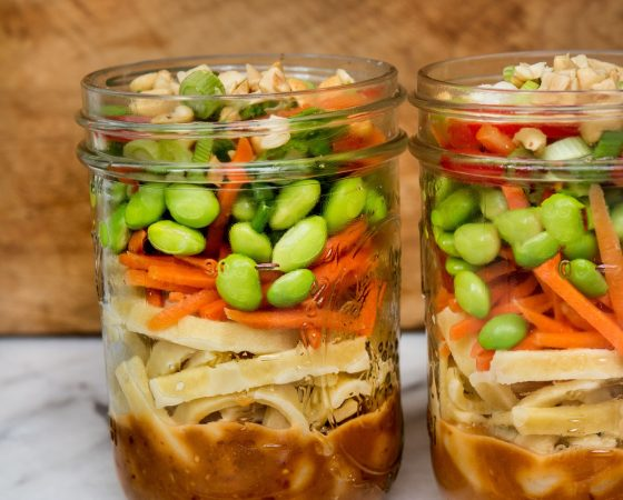 Asian Noodle Salad in Mason Jars
