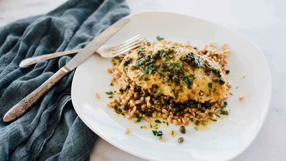 Chicken Piccata Recipe With Capers Over Faro What S For Dinner