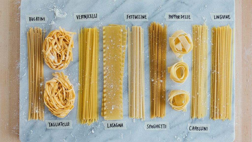 types of ribbon cut pastas with pictures