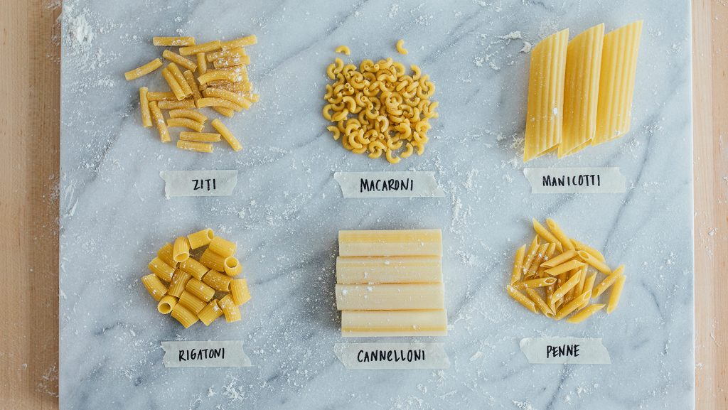 types of tube pastas with pictures