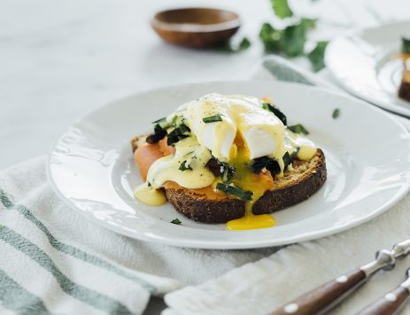 Lox Eggs Benedict with Dandelion Greens