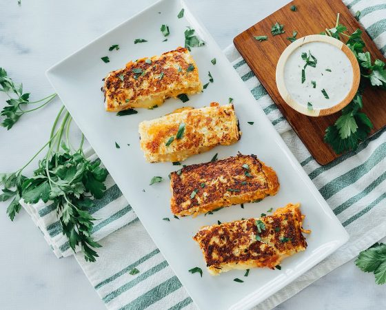 Cauliflower Crusted Buffalo Chicken Grilled Cheese