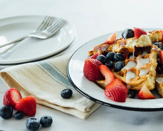 Cinnamon Roll Waffles with Fresh Berries