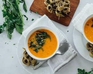 Roasted Tomato Soup With Dandelion Greens