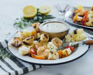 Seafood, Cauliflower, & Pineapple Skewers