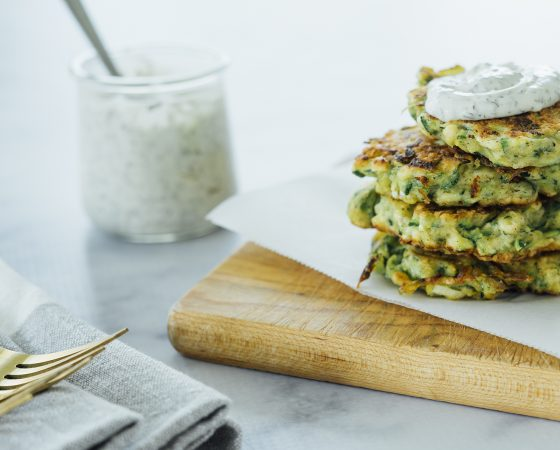 Zucchini Fritters with Dill Veggie Dip