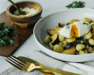 Gnocchi with Balsamic-Marinated Zucchini and Poached Egg