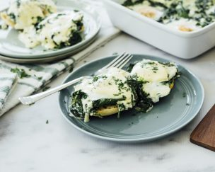 Baked Eggs Florentine with Quick Hollandaise
