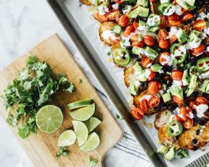 Loaded Sweet Potato Nachos with Ranch