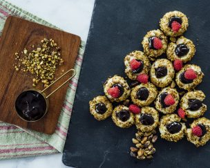Pistachio Chocolate Thumbprint Cookies